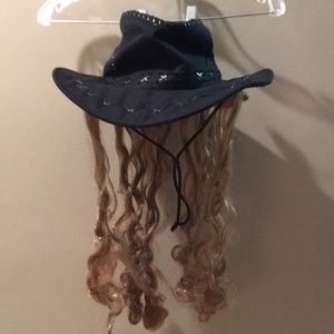 Black hat with attached long blonde hair